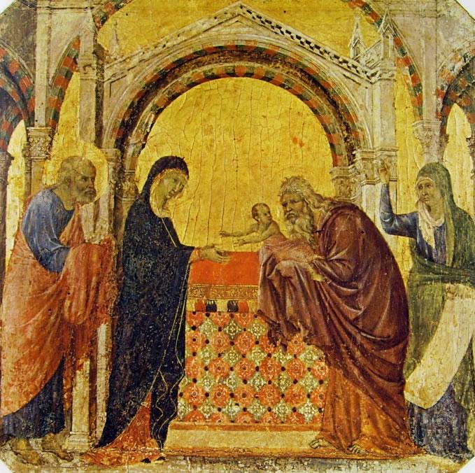 Duccio di Buoninsegna: Maestà - Predella (recto) - La presentazione al tempio (Museo dell'Opera)