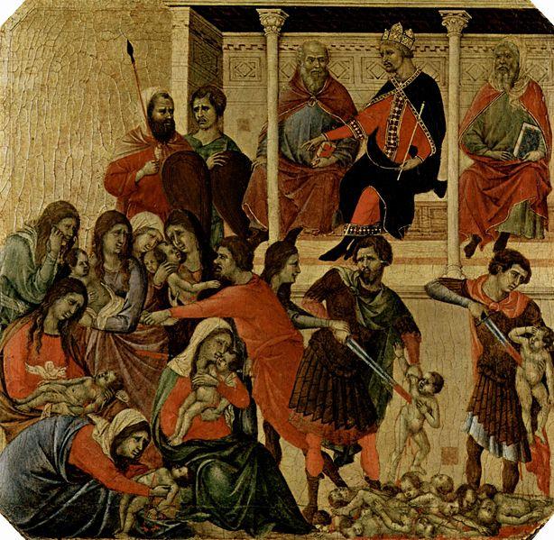 Duccio di Buoninsegna: Maestà - Predella (recto) - La strage degli innocenti (Museo dell'Opera)