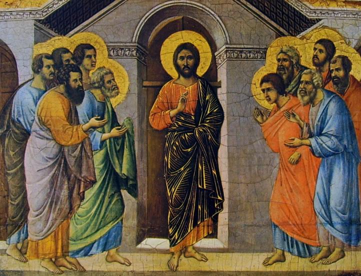 Duccio di Buoninsegna: Maestà - coronamento (verso) - L'Apparizione di Cristo agli apostoli a porte chiuse (Siena)
