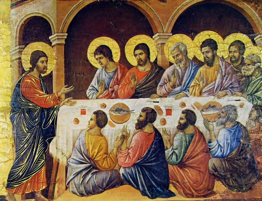 Duccio di Buoninsegna: Maestà - L'Apparizione di Cristo durante la cena degli apostoli
