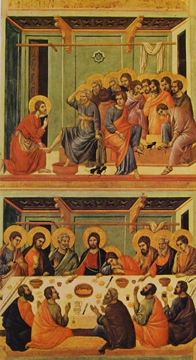 Duccio di Buoninsegna: Maestà - La lavanda dei piedi e l'Ultima cena (Siena)