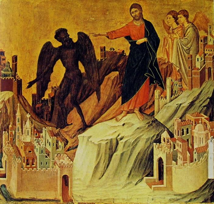 Duccio di Buoninsegna: Maestà - La tentazione di Cristo sul monte (New York)