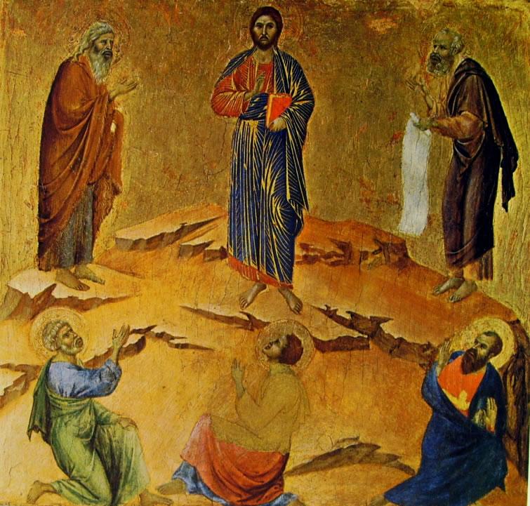 Duccio di Buoninsegna: Predella (verso) - La Trasfigurazione (National Gallery di Londra)