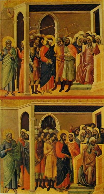 Duccio di Buoninsegna: Maestà - Cristo percosso e Cristo davanti a Caifa