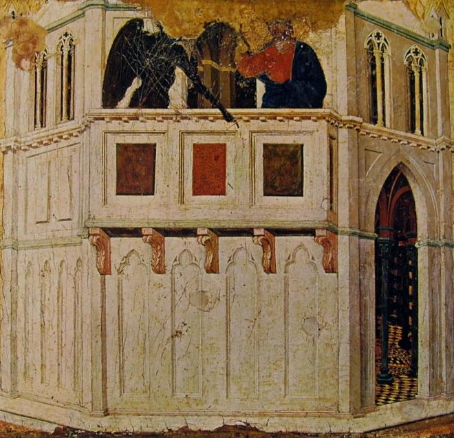 Duccio di Buoninsegna: Maestà - La Tentazione di Cristo sul tempio (Siena)