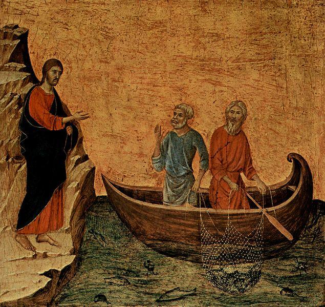 Duccio di Buoninsegna: Maestà - La vocazione di Pietro e Andrea