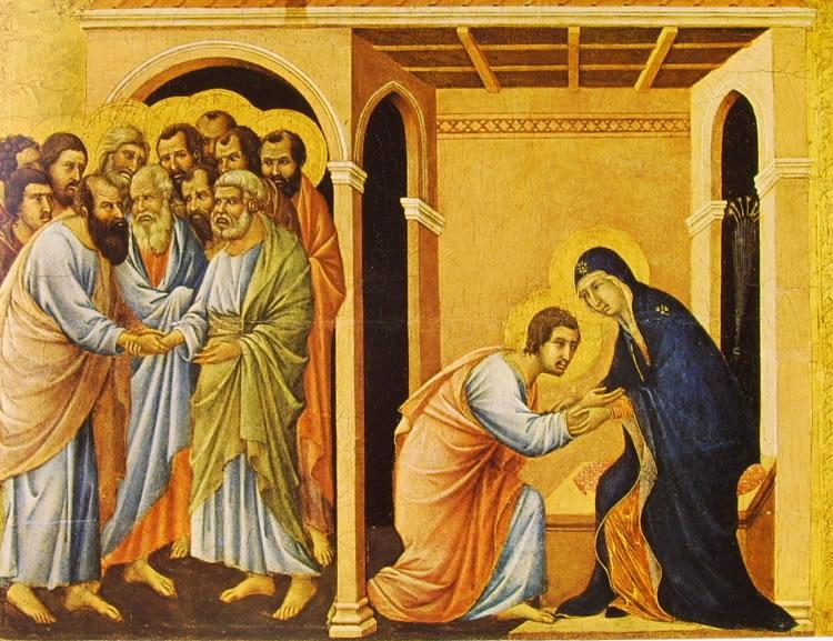 Duccio di Buoninsegna: Maestà - Il congedo della Vergine da San Giovanni (coronamento)