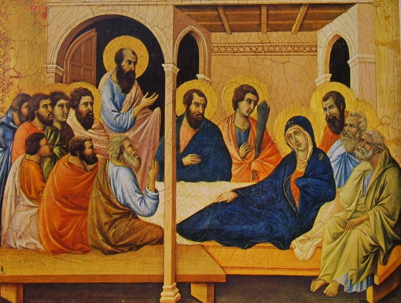 Duccio di Buoninsegna: Maestà - Coronamento (recto) - Il congedo della Vergine dagli apostoli (Duomo si Siena)