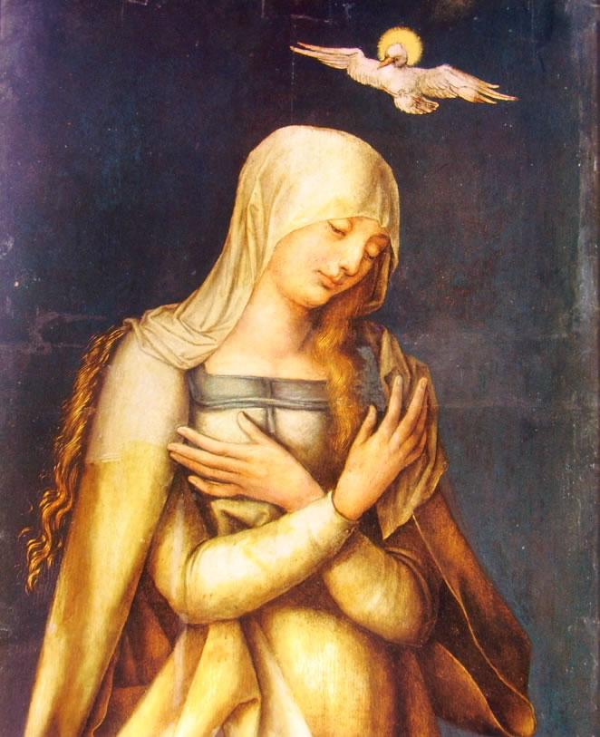 Albrecht Dürer (bottega):Altare di Paumgartner - Vergine Annunziata