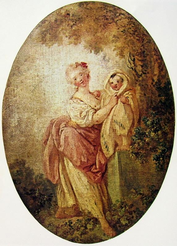 Jean-Honoré Fragonard: Donna reggente un bambino in piedi