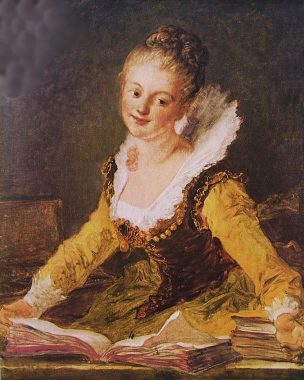 Jean-Honoré Fragonard: Lo studio - Donna con libri