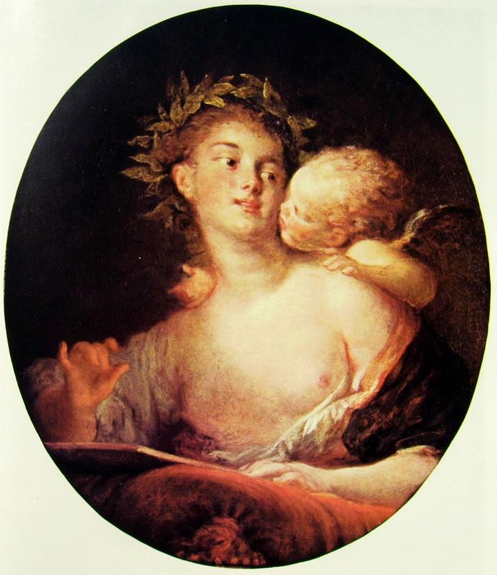 Jean-Honoré Fragonard: Saffo ispirata da Cupido