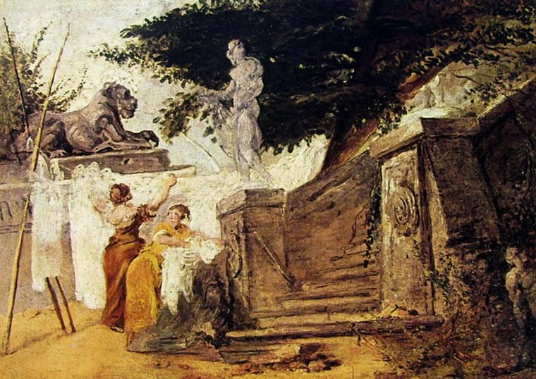 Jean-Honoré Fragonard: Lavandaie in un giardino patrizio