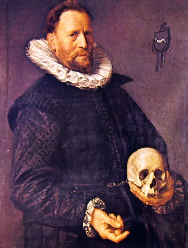 Frans Hals: Uomo sessantenne con teschio nella mano sinistra