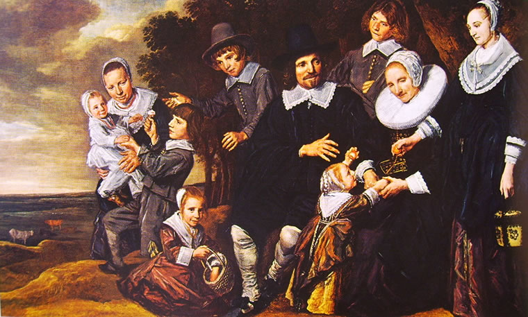 Frans Hals: Gruppo di famiglia con dieci figure presso un boschetto