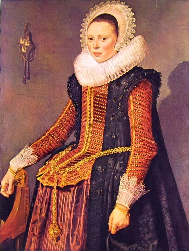 Frans Hals: Donna con la destra su un seggiolone e grande catena alla vita