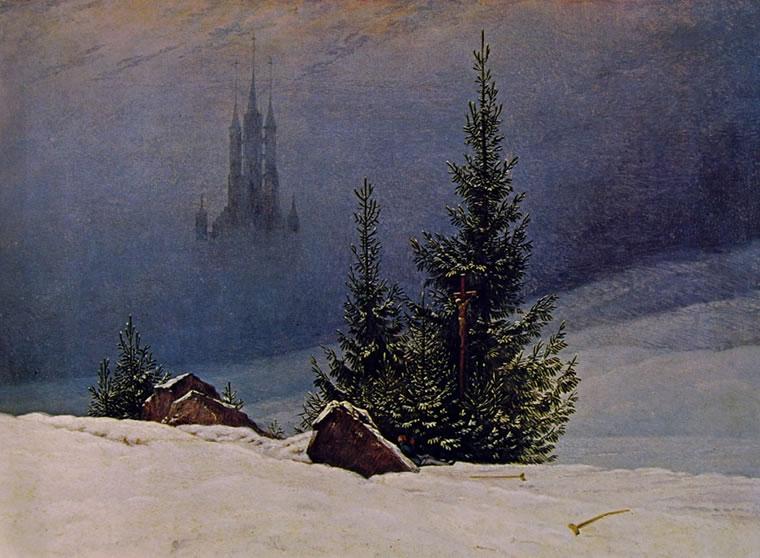 Caspar David Friedrich: Paesaggio invernale con chiesa