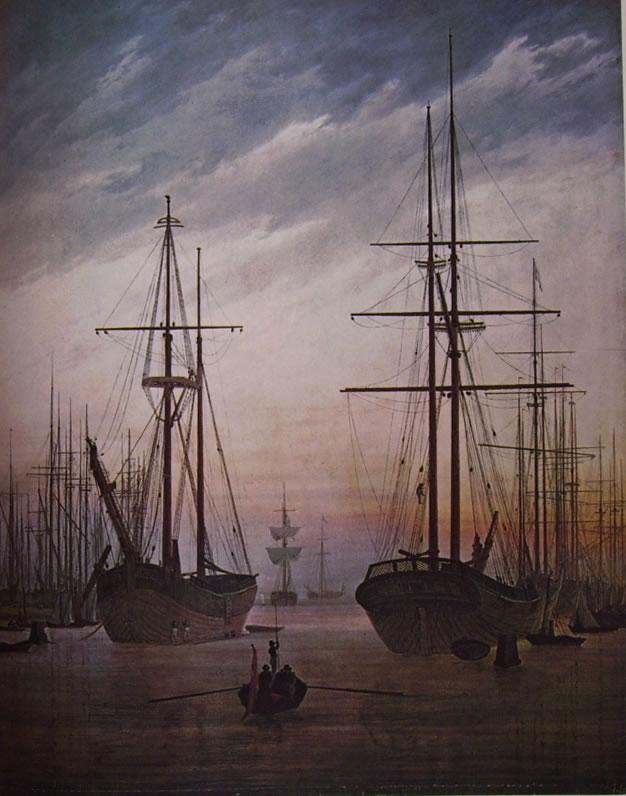 Caspar David Friedrich: Veduta di un porto