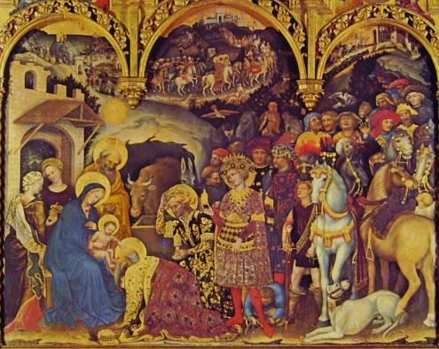Gentile da Fabriano: L'Adorazione dei magi (Galleria degli uffizi)