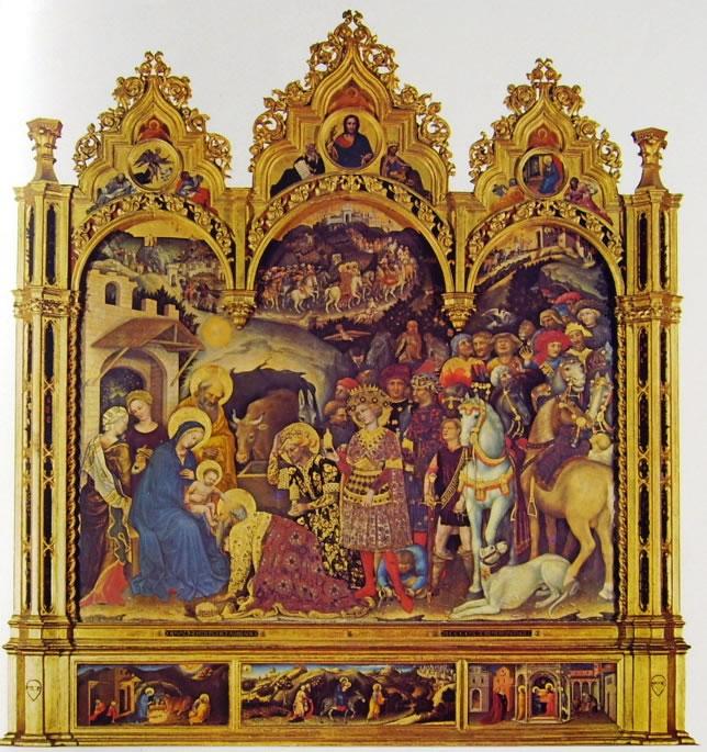 Gentile da Fabriano: Pala dell'adorazione dei magi (Uffizi)
