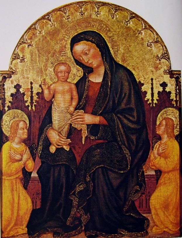 Gentile da Fabriano: Madonna con il Bambino e due angeli (Tulsa)