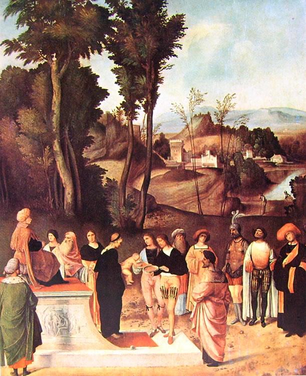 Giorgione: Mosè alla prova del fuoco (Uffizi)