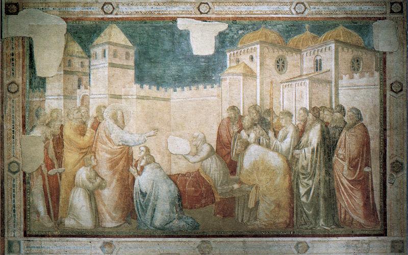 Giotto - I dipinti della Cappella Peruzzi - La resurrezuine di Drusiana assieme
