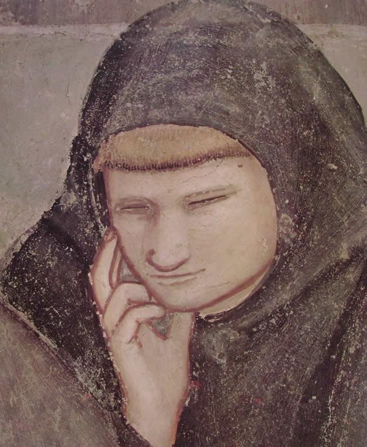 """Giotto: """"Cappella Bardi - L'Apparizione al capitolo di Arles, particolare, cm. 20 (opera realizzata con collaboratori), Cappella Bardi, Santa Croce, Firenze"""