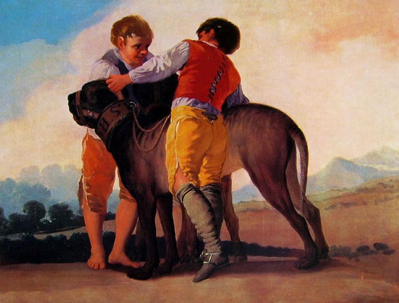 Goya: Cartoni per gli arazzi reali - Ragazzi con mastini