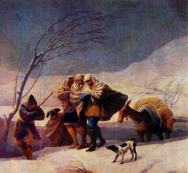 "Goya: ""Cartoni per gli arazzi reali - La nevicata"""