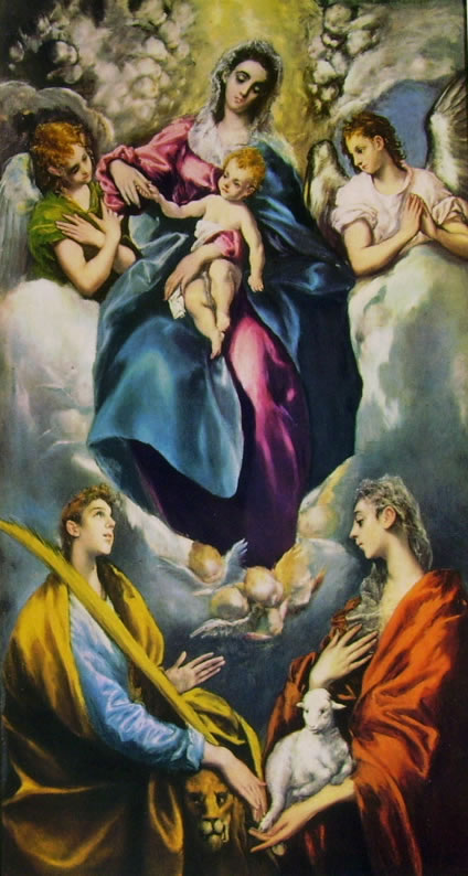 El Greco: Madonna con il Bambino e le sante Martina e Agnese, cm. 193 x 103, National Gallery of Washington.
