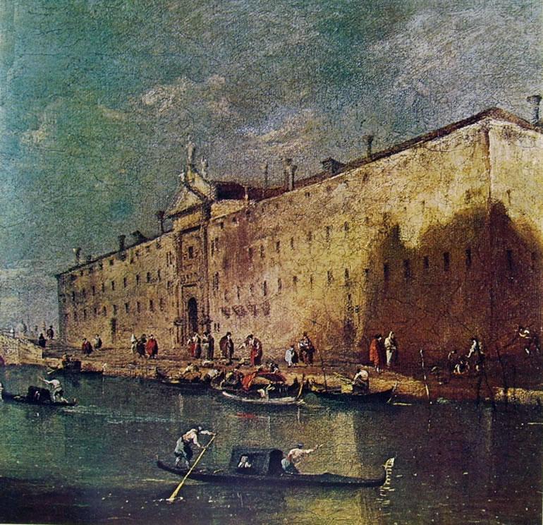 Francesco Guardi: Rio dei mendicanti al convento, proprietà privata.