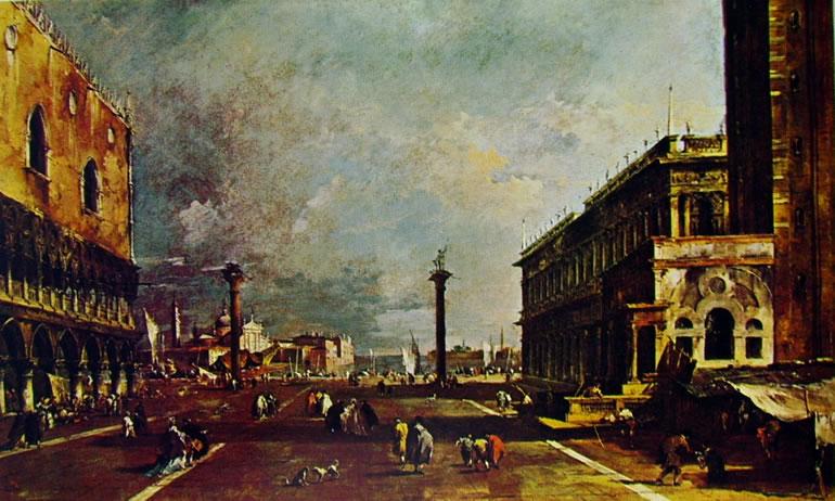 Francesco Guardi: La piazzetta verso l'isola di San Giorgio Maggiore con la base del campanile