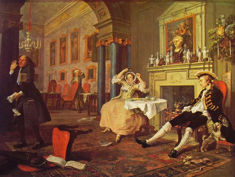 William Hogarth: Il matrimonio alla moda - La mattina