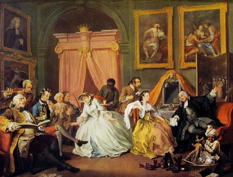 William Hogarth: Il matrimonio alla moda - La 'Léeve' della signora