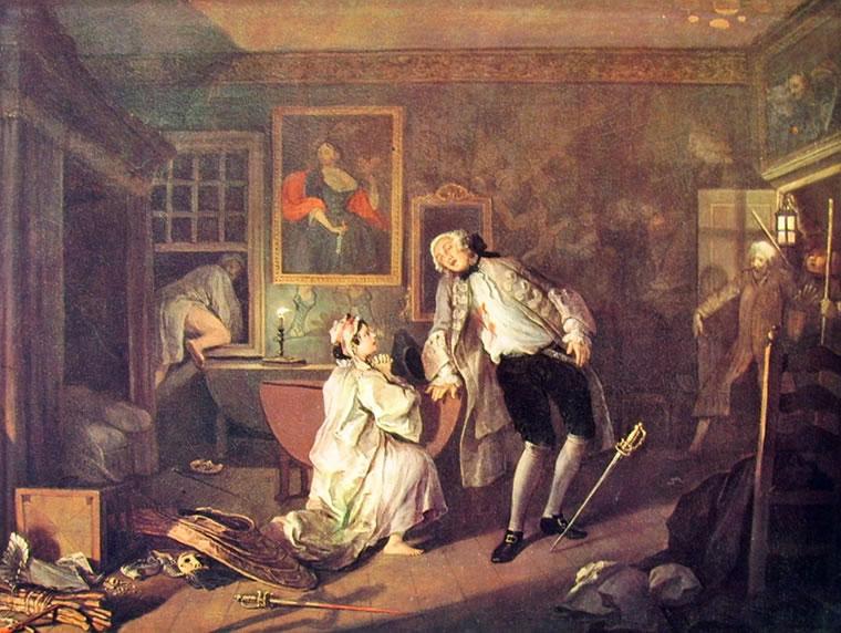 William Hogarth: Il matrimonio alla moda - La morte di lui