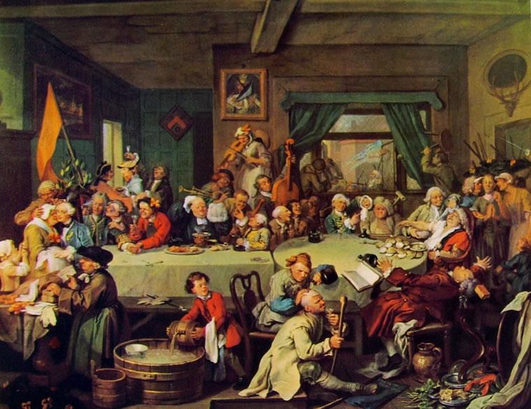 William Hogarth: La campagna elettorale - Il banchetto (Soane's Museum)