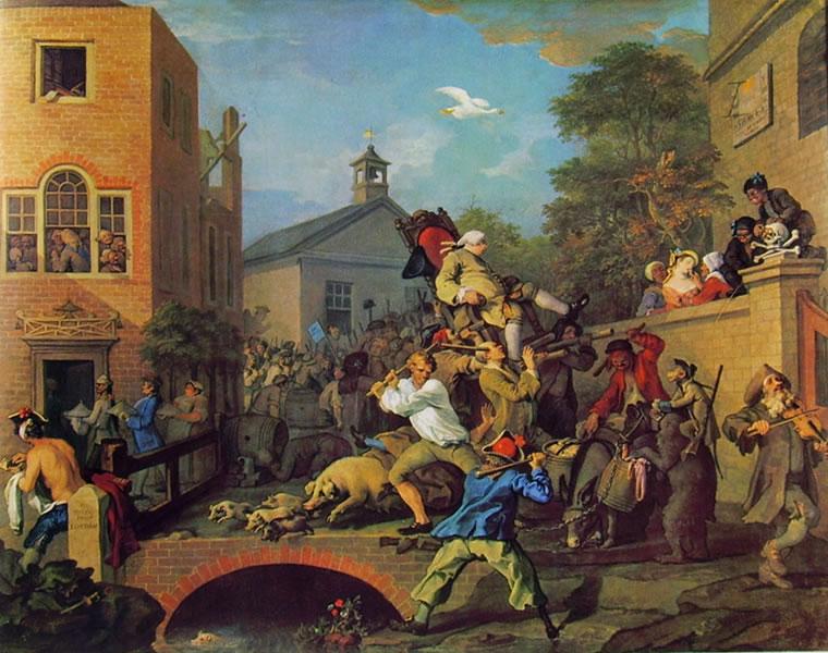 William Hogarth: La campagna elettorale - Il trionfo dell'eletto