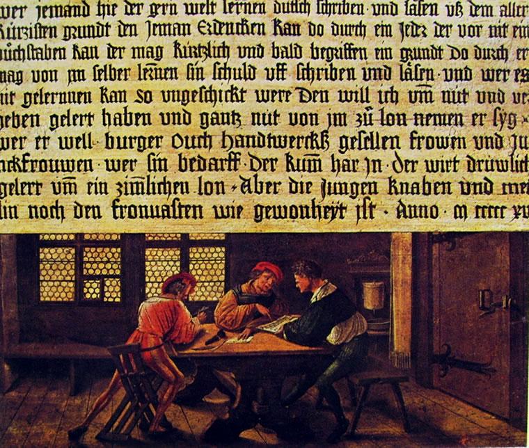 Hans Holbein il Giovane: Insegna di un maestro di scuola - Lezione agli adulti