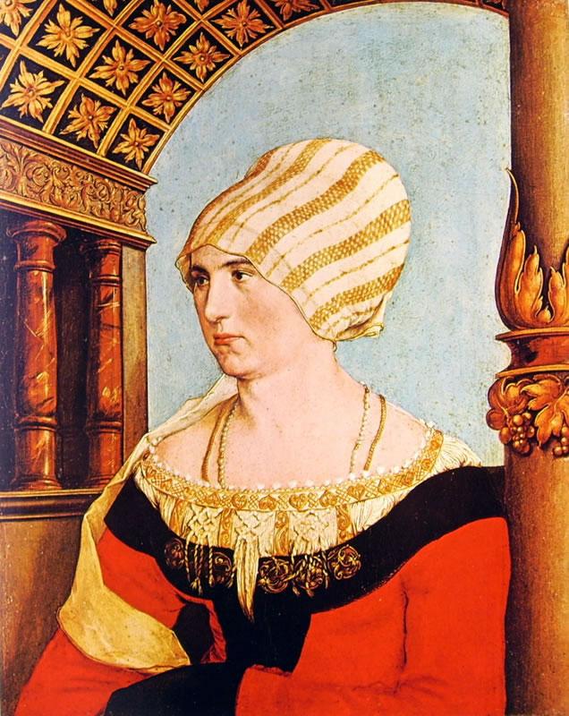 Hans Holbein il Giovane: Dittico dei coniugi - Ritratto di Dorothea Annengiesser