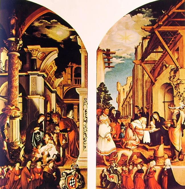 Hans Holbein il Giovane: Altare Oberried - Adorazione dei pastori
