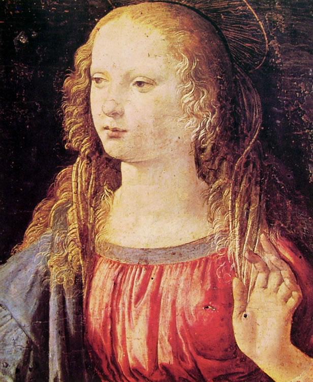 Leonardo da Vinci: L'annunciazione (Particolare della Madonna)