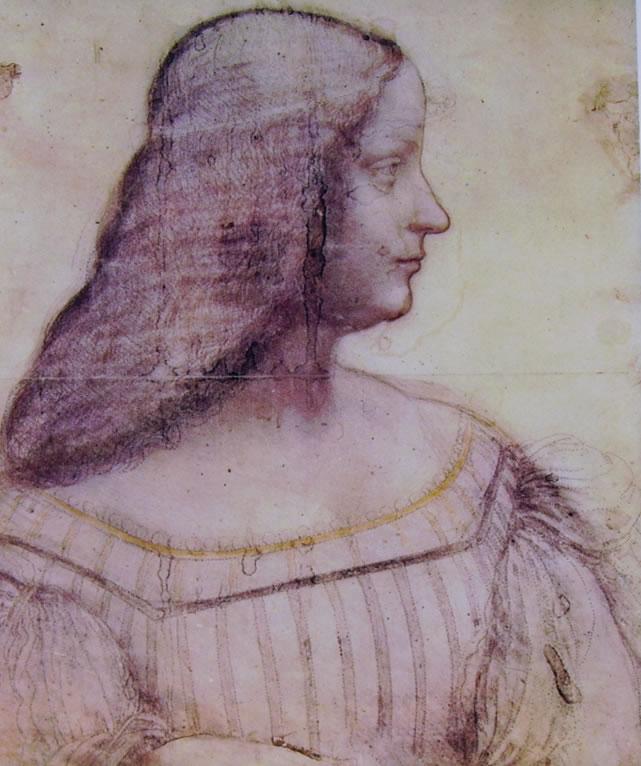 Leonardo da Vinci: Particolare del Ritratto d'Isabella d'Este