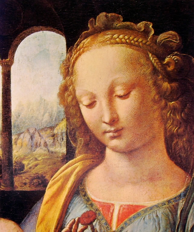 Leonardo da Vinci: Madonna del garofano (particolare)