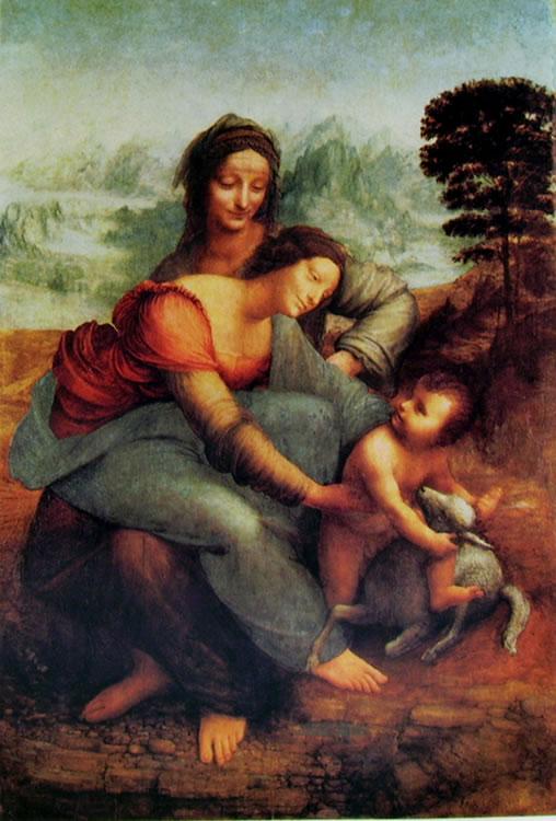 Leonardo: Sant'Anna, la Madonna e il Bambino con l'agnello