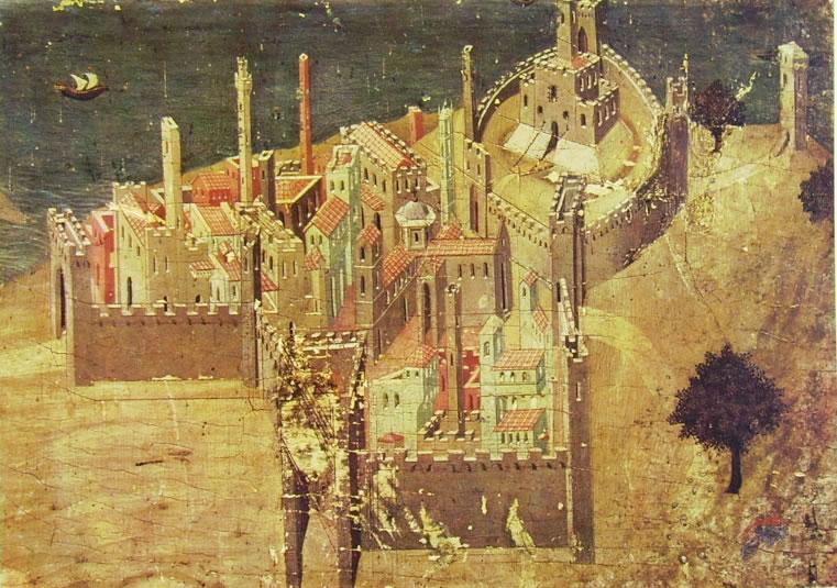 Ambrogio Lorenzetti: Veduta di città sul mare