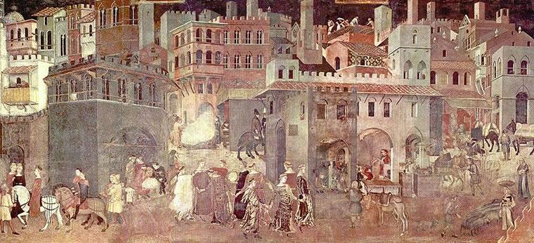 Ambrogio Lorenzetti: La città ben governata - Allegoria degli Effetti del Buon Governo in Città