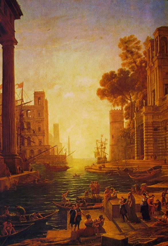 Lorrain (Claude Gellée): Il porto di Ostia con l'imbarco di Santa Paola