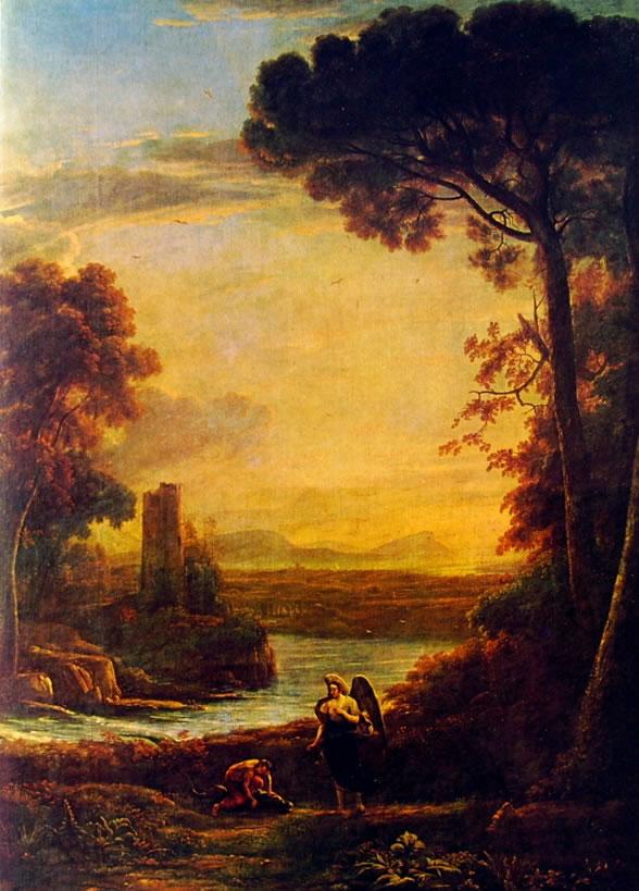 Lorrain (Claude Gellée): Paesaggio con Tobia e l'Angelo (Prado)