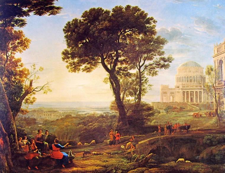Lorrain (Claude Gellée): Paesaggio con Apollo che custodisce gli armenti di Admeto e Mercurio che lo deruba